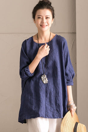 Blue Cotton Linen Bat Sleeve Top  Round collar Shirt Summer and Spring For Women C9962B - FantasyLinen