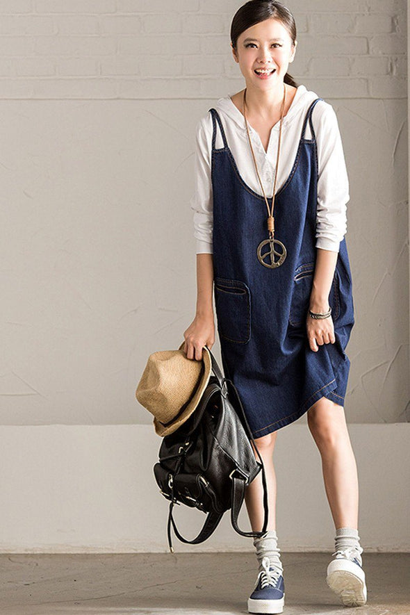 Blue Cowboy Overalls Dresses  Women Clothes Q7113A - FantasyLinen