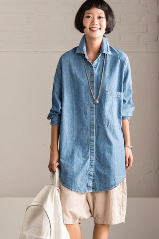 Blue Denim Boyfriend Style Shirt Big Size Casual Tops  Women Clothes W0187A