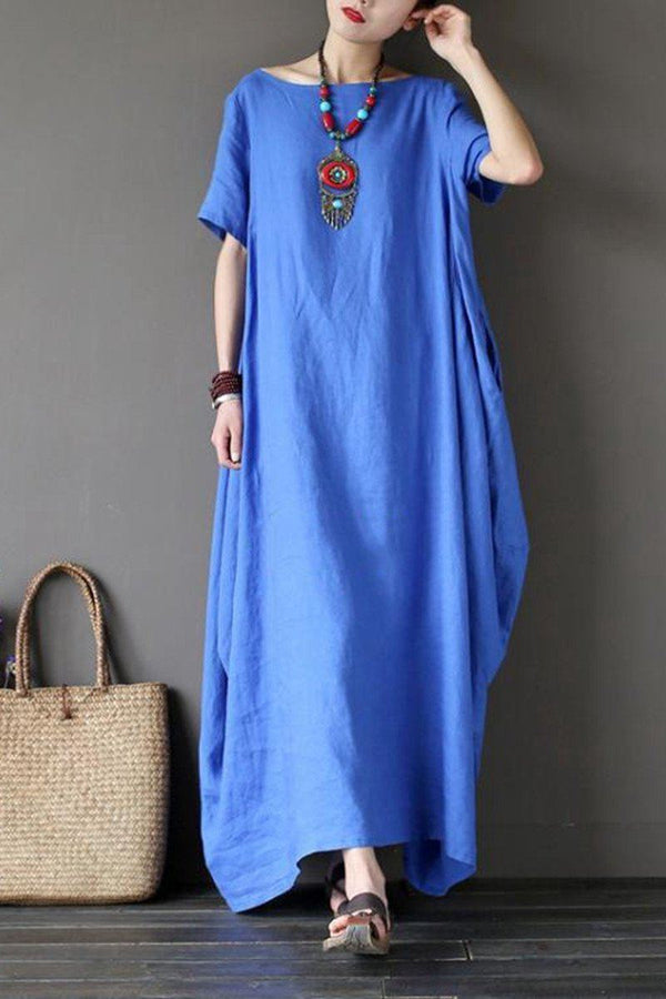 Blue Casual Linen Plus Size Summer Maxi Dresses 1640 - FantasyLinen