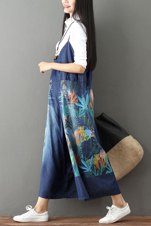 Vintage Floral Printed Casual Loose Denim Overalls Jumpsuits For Women  Q6516