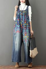 Autumn Cotton Casual Loose Denim Overalls Jumpsuits For Women  Q6517