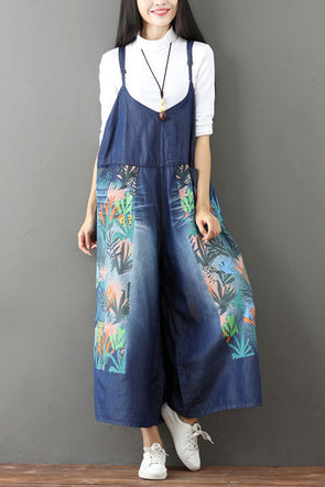 01e63d17a48 Vintage Floral Printed Casual Loose Denim Overalls Jumpsuits For Women Q6516