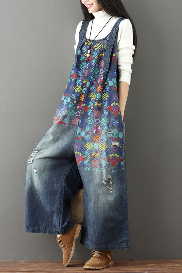 Autumn Cotton Casual Loose Denim Overalls Jumpsuits For Women  Q6517 - FantasyLinen