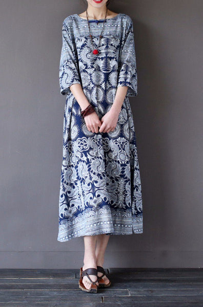 Blue Flower Vintage Dress Women Tops Q1627A