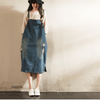 Blue Hole Hole  Painter Cowboy Suspender Dress Oversize Causel Women Clothes - FantasyLinen