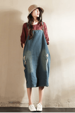 Blue Hole Hole  Painter Cowboy Suspender Dress Oversize Causel Women Clothes