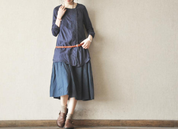 Blue Ink Elastic Waist Strap Skirts Women Girl Big Size Cotton Maxi Skirt Women Clothing