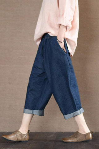 Blue Jeans Women Pants Daily Leisure Girl Clothes LR836