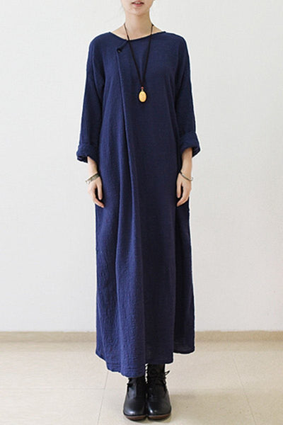 2017 Fall Irregular Blue Cotton Linen Dresses Long Sleeve Caftans Gown Q2227