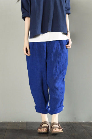 Blue Linen Turnip Pants Women Trousers LR706