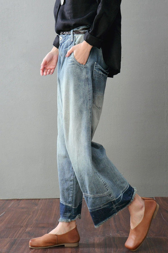 Blue Torn Edges Cowboy Jeans Wide-legged Pants Women Clothes K1702 - FantasyLinen