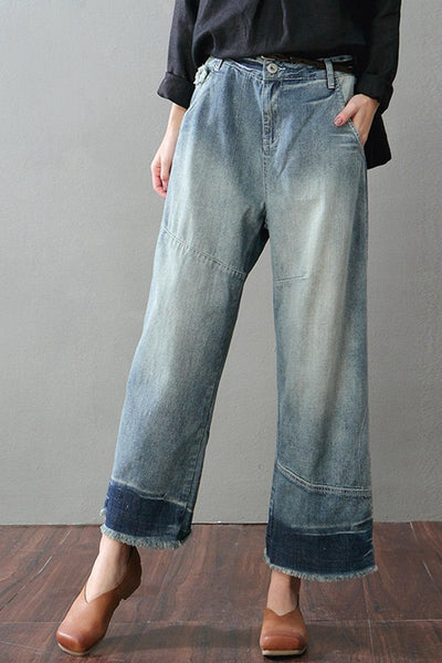 Blue Torn Edges Cowboy Jeans Wide-legged Pants Women Clothes K1702