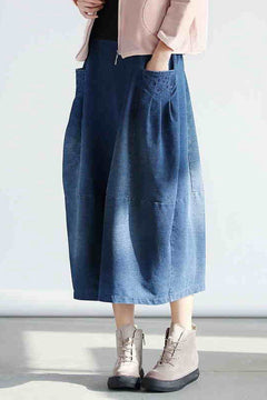 2018 Denim Pocket Cotton Skirt Simple Women Clothes Q0501A