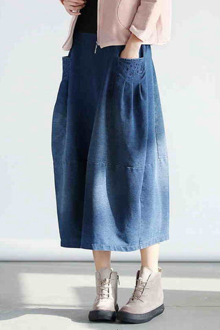 2017 Denim Pocket Cotton Skirt Simple Women Clothes Q0501A