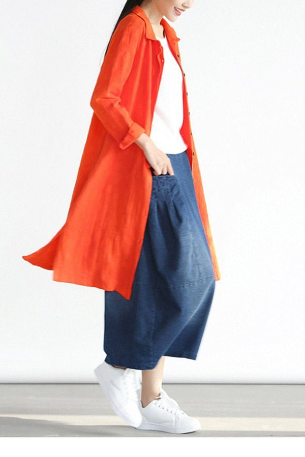 2018 Denim Pocket Cotton Skirt Simple Women Clothes Q0501A - FantasyLinen