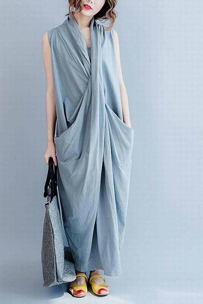 Gray Sleeveless Cross Summer long dresses Causal Dresses Plus Size Oversize  Women Clothes Q6369