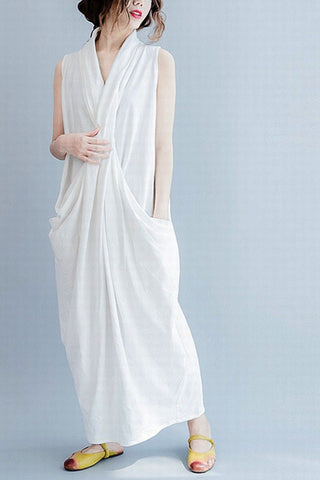 White Sleeveless Cross Plus Size Oversize long Dresses Q6369
