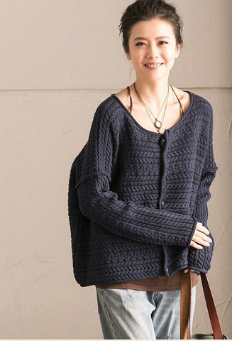 Blue Art Simply Casual Round Collar Knit Sweater  Women Clothes Z1331B
