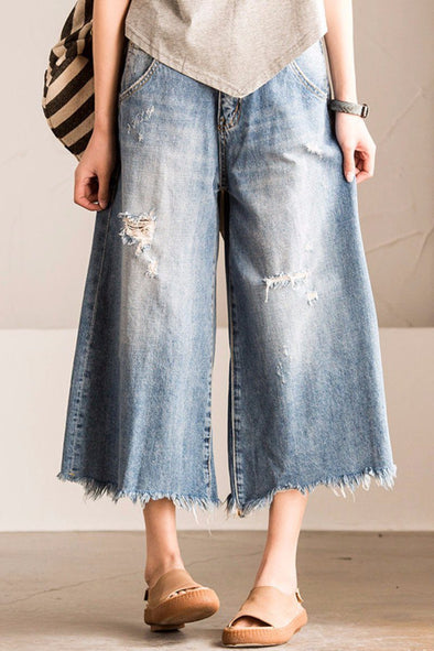 Blue Torn Edges Cowboy Boken Hole Jeans Wide-legged Pants Causel Women Clothes N7186A - FantasyLinen