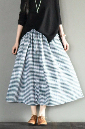Blue White Grid Summer Cotton Linen Skirt Fashion Girl Women Clothes LR667 - FantasyLinen