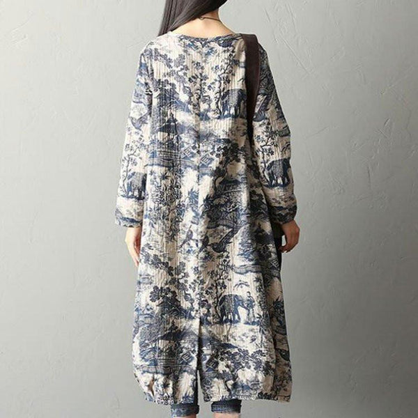 Blue White Print Porcelain Floral Cotton Linen Dress Robe Fashion Women Clothes Q1410A - FantasyLinen