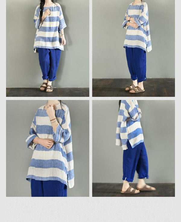 Blue and Rice Stripe Dress LR700 - FantasyLinen