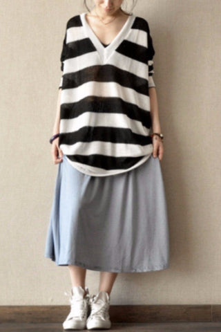 Blue Pinstripe Cotton A-Style Skirt Casual Women Clothes L0029