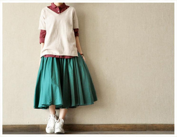 Casual Clothing White Cotton Big Hem Women Long Linen Skirt Women Clothing LR048