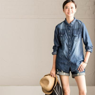 Casual Loose Comfortable Long Sleeve Denim Shirt Women Clothes C2022A