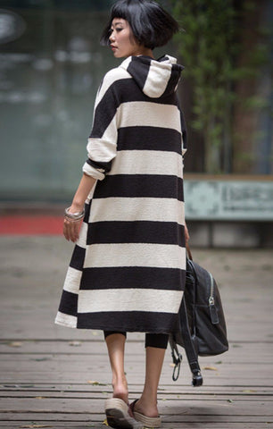 Casual Stripe Hood Dress Women Clothes Q6115B