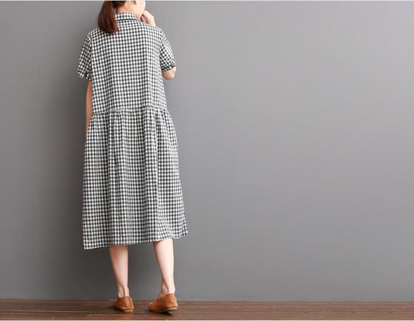 Causal Grid Dress Summer Women Clothes Q0707 - FantasyLinen