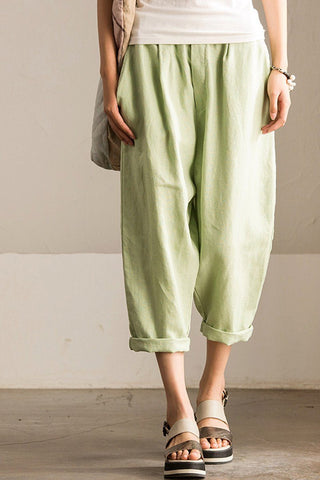 Causel Linen Pants Fashion Seven minutes of Pants Trousers Women Clothes