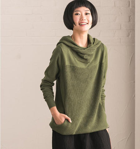 Causel Pullover Knitwear Hooded Sweater