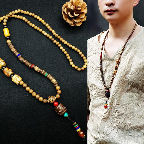 China Style Vintage Wooden Summer Necklace Women Accessories D3100A