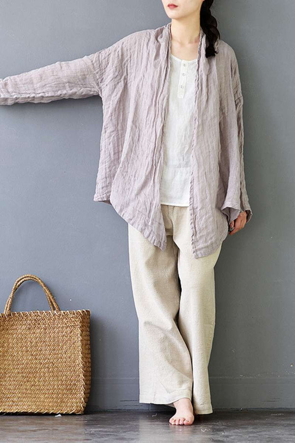 Short Linen Women Coat Women Shirt Summer Sun Protection S335