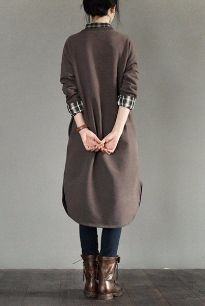 Coffee Long Fleece Dress Blouse Women Clothes