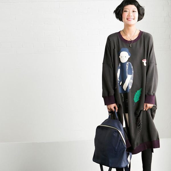 Color Block Loose Cartoon Long Sleeve Fleece Dresses Women Clothes Q0339A - FantasyLinen