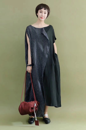 FantasyLinen Stylish Summer Cotton Linen Silk Joint Cool Casual Loose Fitting Long Dresses 2090