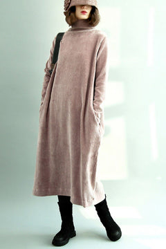 FantasyLinen Corduroy High Neck Dress, Soft Pink Loose Robe Q9010