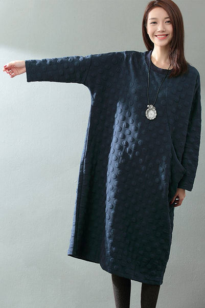 FantasyLinen Cotton Designer Long Loose Dress, Warm Literary Blue Dress Q817