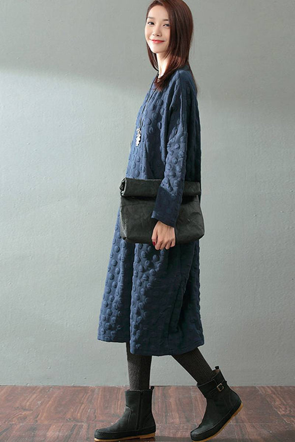 FantasyLinen Cotton Designer Long Loose Dress, Warm Literary Blue Dress Q817 - FantasyLinen