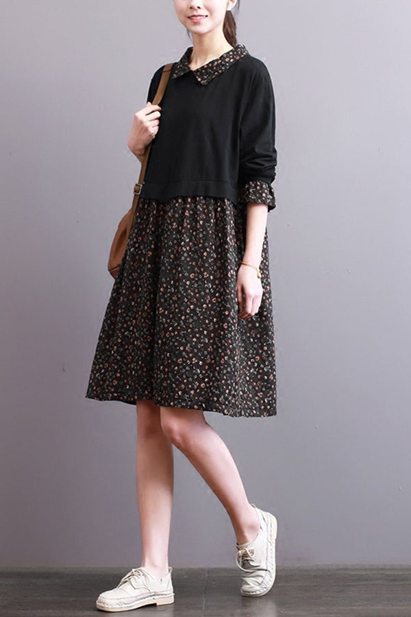 FantasyLinen Women Loose Cotton Floral Dress, Casual Shirt Collar Dress Q3001 - FantasyLinen