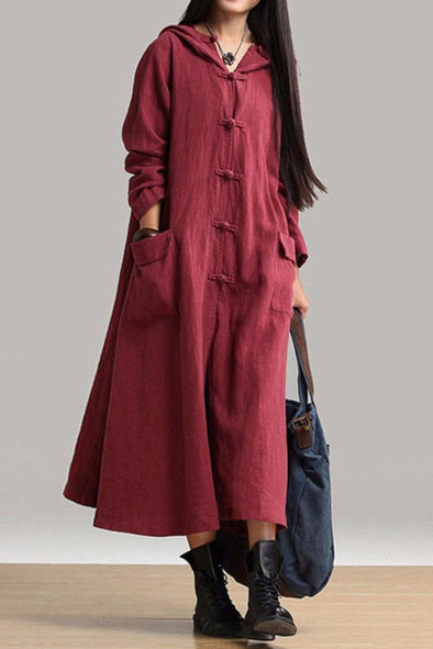 Cotton Linen Plus Size Sweep Long Sleeve Loose Casual Coat Women Clothes W3101A - FantasyLinen