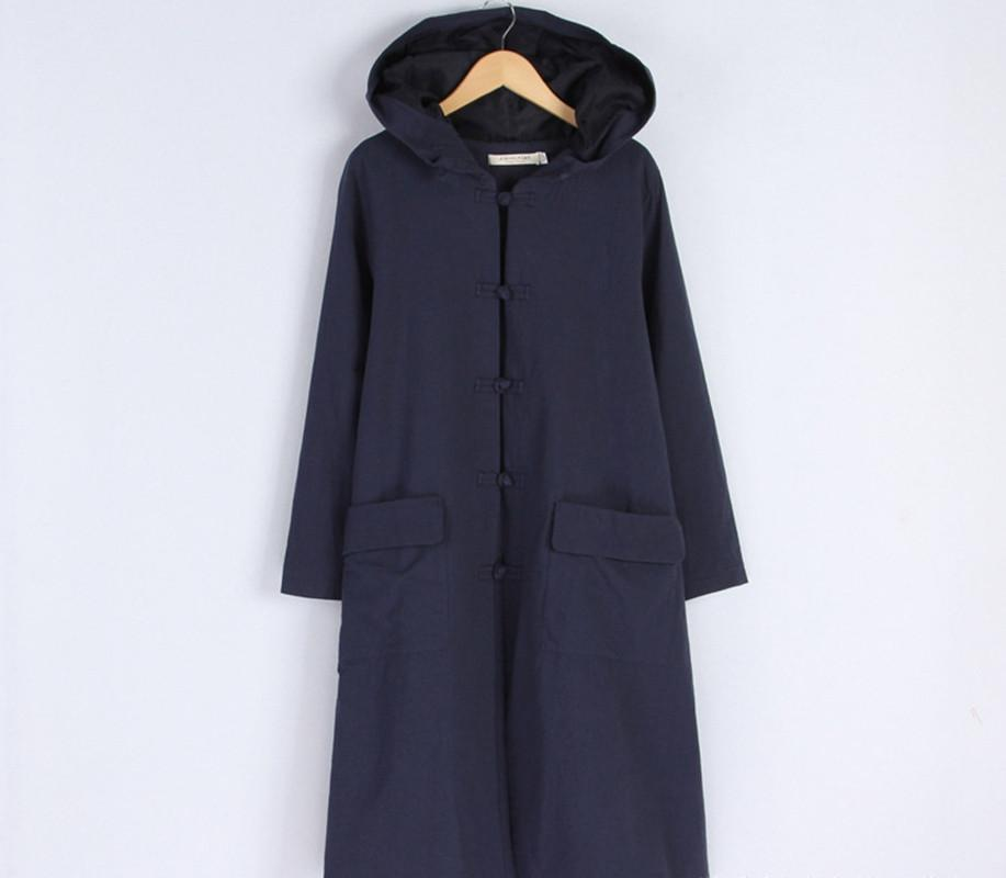 Cotton Linen Plus Size Sweep Long Sleeve Loose Casual Coat