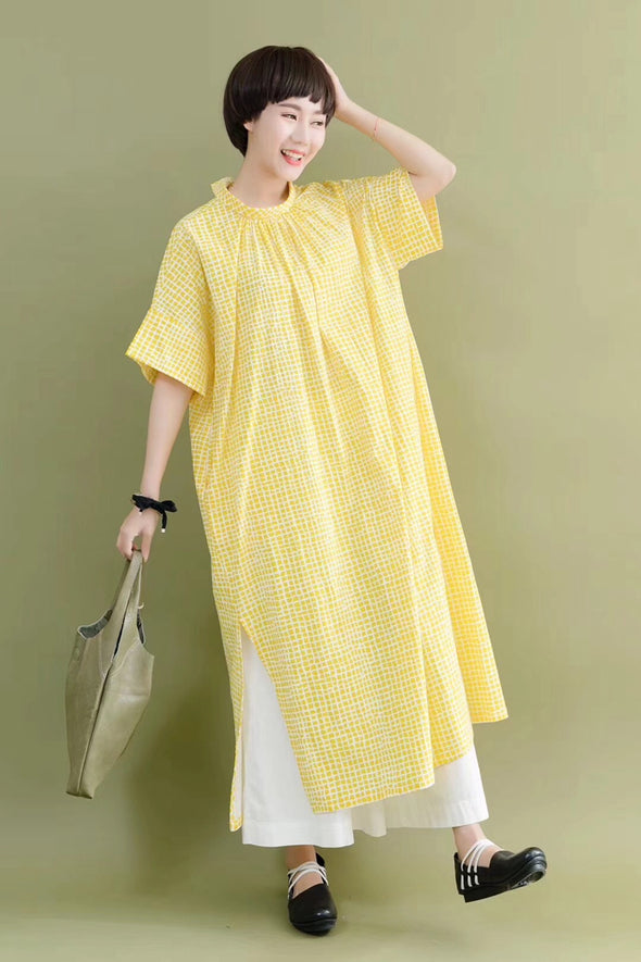 FantasyLinen Cute Plaid Stylish Women Yellow Casual Loose Fitting Long Dresses 7177