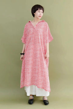 FantasyLinen Cute Plaid Stylish Women Red Casual Loose Fitting Long Dresses 7177