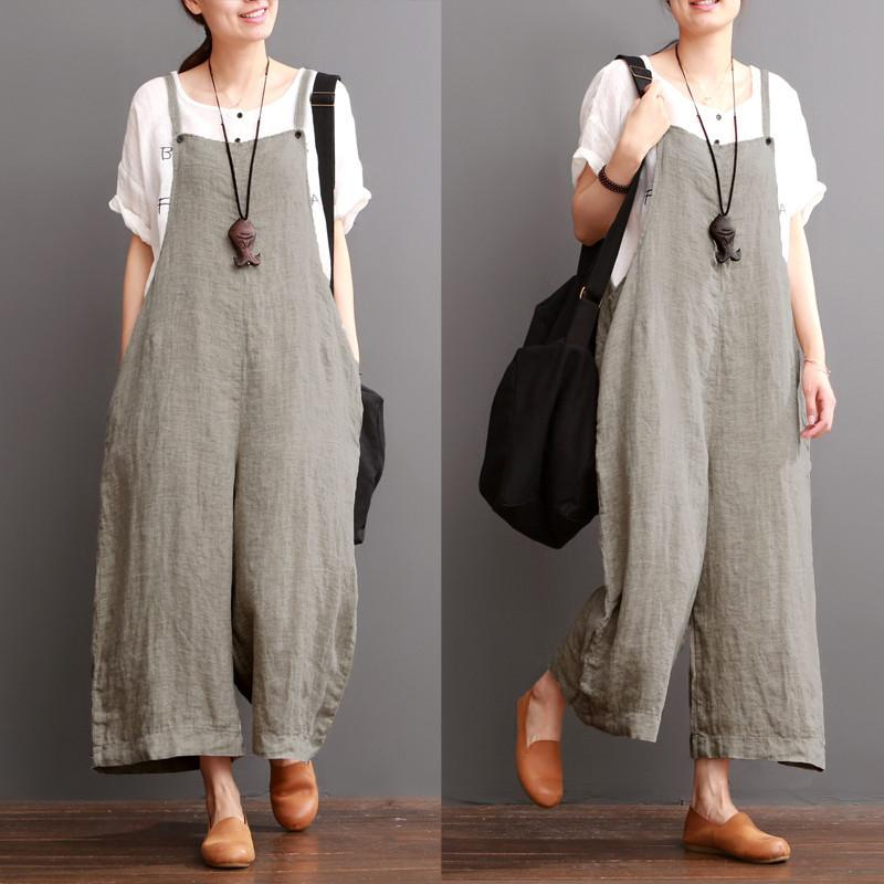 Cotton Linen Sen Department Causel Loose Overalls Big