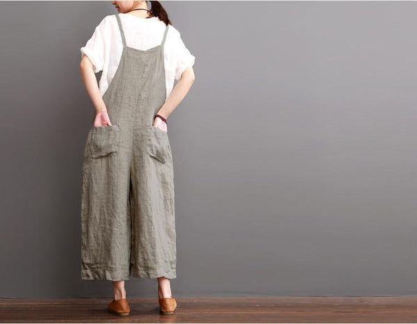 Cotton Linen Sen Department Causel Loose Overalls Big Pocket Maxi Size Trousers Women Clothes - FantasyLinen
