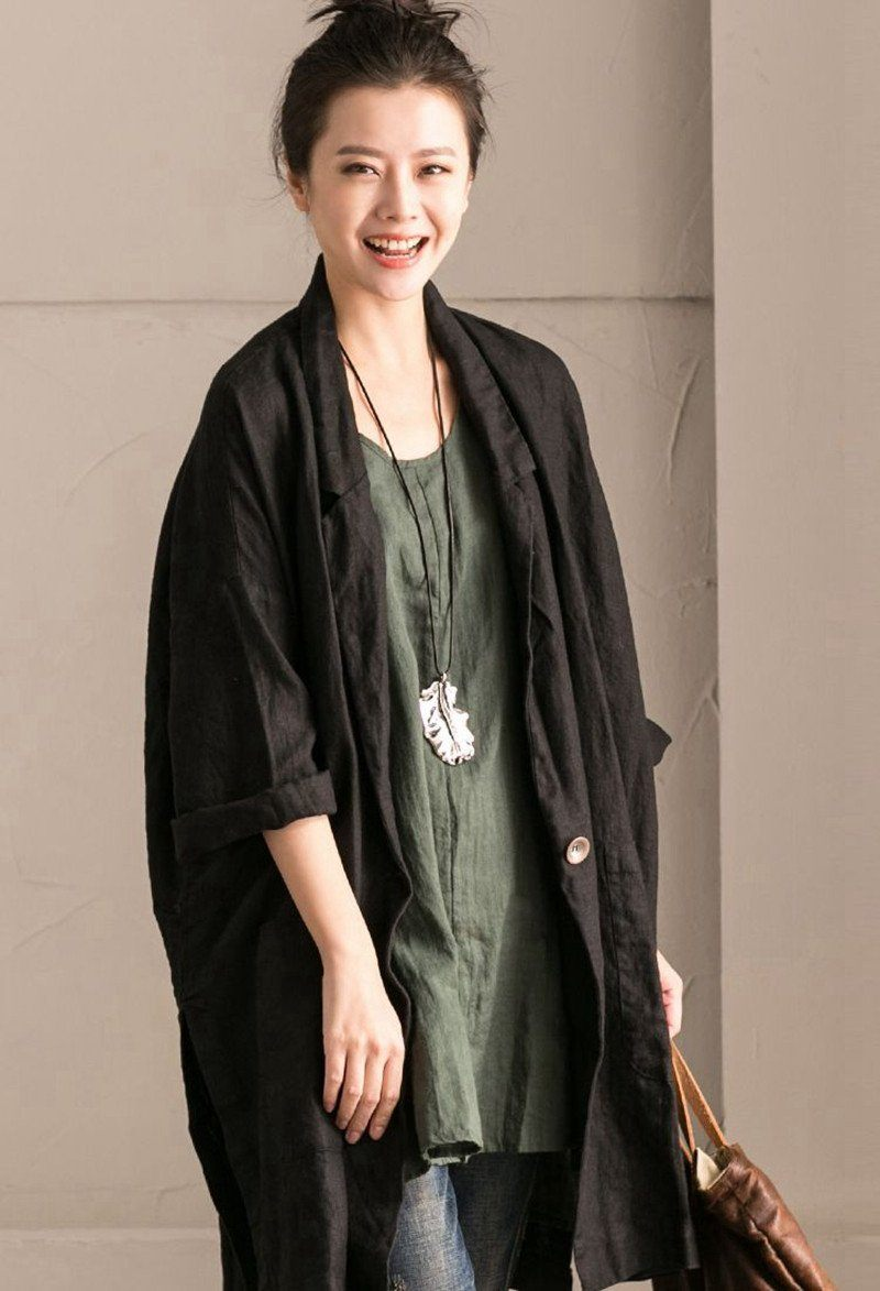 f75f6dcaa885 Green Cotton Linen Sleeveless Casual Long Vest Summer For .